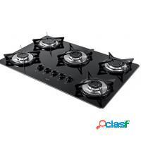Fogão cooktop a gás 5 bocas gpl preto - orb