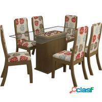 Kit mesa de vidro jantar com 6 cadeiras estofadas
