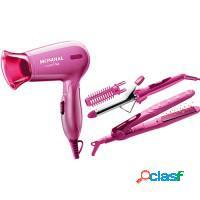 Kit rosa secador + chapinha + modelador - mondial