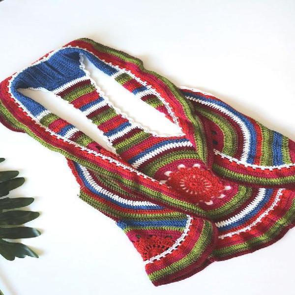 Colete croche colorido