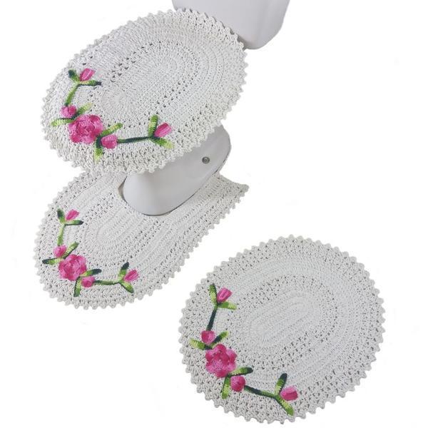 Conjunto de tapetes de banheiro em crochê artesanal com