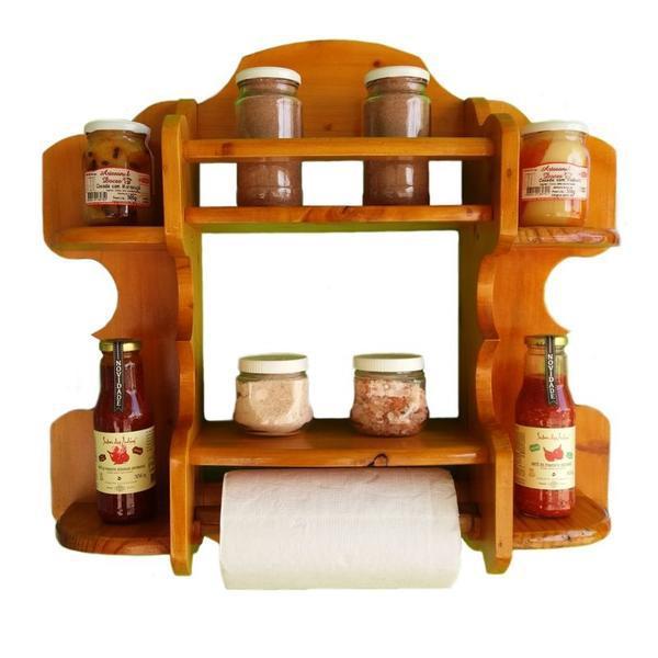 Estante prateleira porta condimentos e temperos de madeira