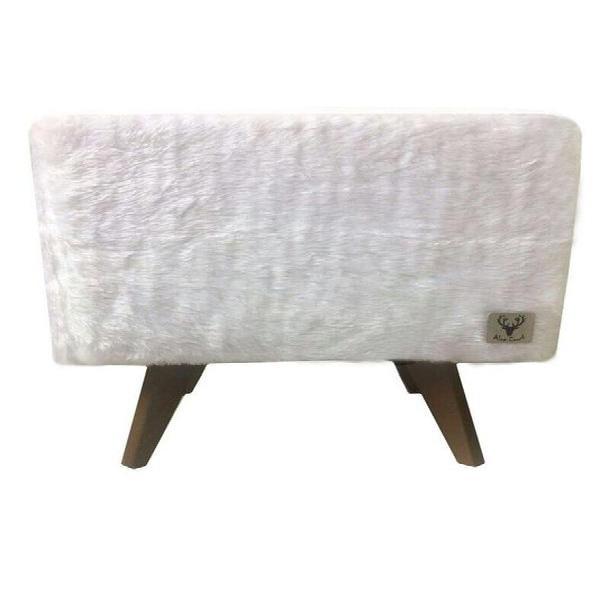Puff pé palito quadrado alce couch astracan pelúcia
