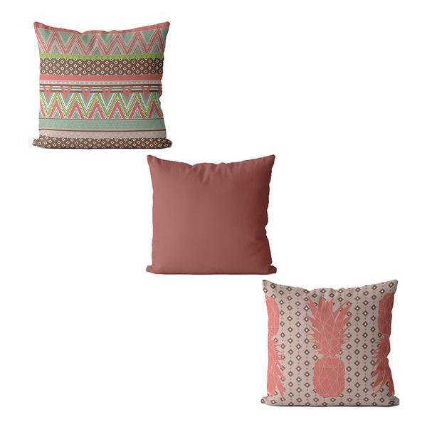 Kit com 3 capas de almofada tribal rosa