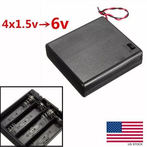 4x aa v bateria titular caso armazenamento conector caixa on