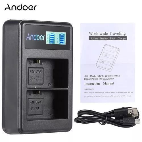 Andoer lp e6 recarregável led exibição li - íon bateria