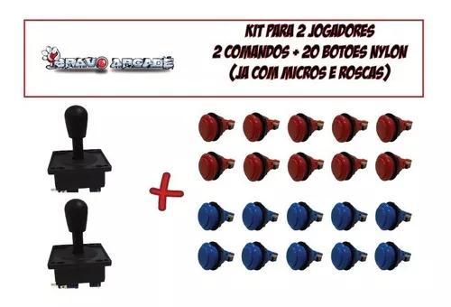 Kit fliperama botões de nylon para 2 players raspberry pi