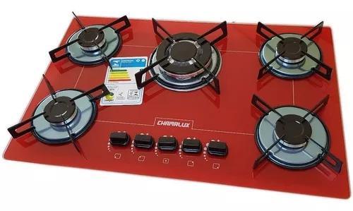 Fogão cooktop 5 bocas tripla chama vermelho chamalux gás