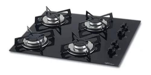 Fogão cooktop fischer chama rápida 4 bocas vidro bivolt
