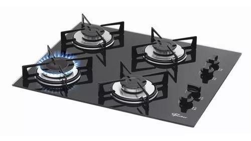 Fogão cooktop gás mesa vidro fischer 4 bocas preto