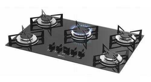 Fogão cooktop gás mesa vidro fischer 5 bocas preto