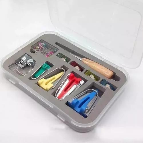 Kit calcadores de fazer viés manual + clipes super
