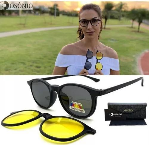 Armação oculos grau solar osônio os132 clip on redondo
