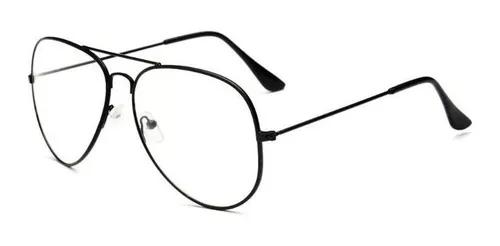Armação óculos de grau masculino aviador original preto