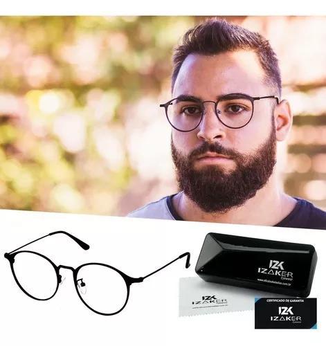 Armação óculos grau masculino redondo retrô preto 7016
