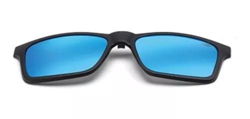 Clip on armação mormaii swap preto fosco l azul polarizada