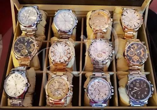 Kit c/ 10 relógios masculinos aço atacado + caixas e