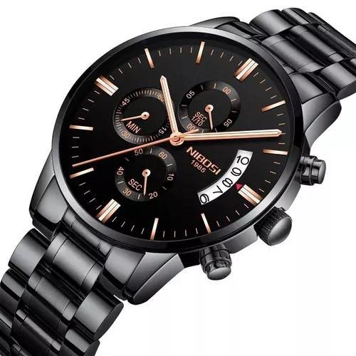 Relógio blindado nibosi masculino anti-risco funcional luxo