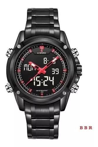 Relógio de pulso masculino naviforce aço inoxidável led