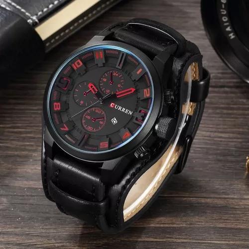 Relógio masculino couro original + estojo original barato