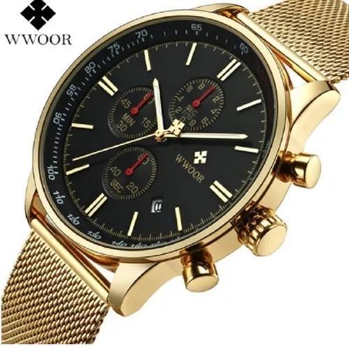 Relógio masculino social luxo wwoor 8862 pulseira aço