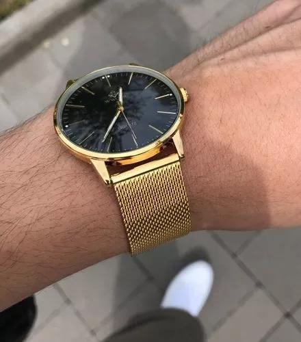 Relógio masculino social original inox slim fino + brinde