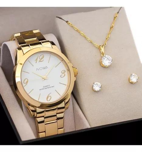 Relógio nowa dourado f