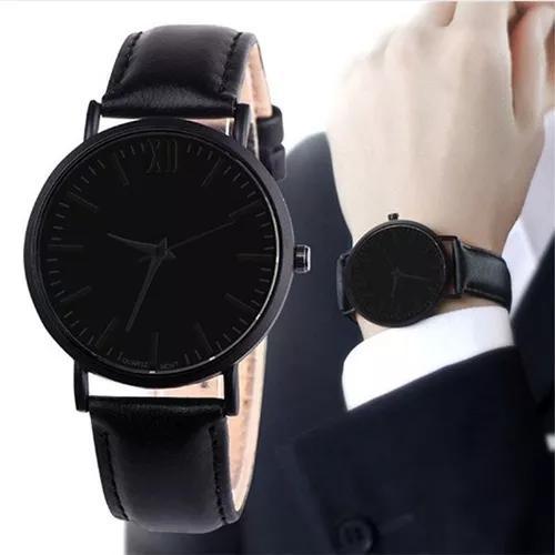 Relogio social masculino quartz pulseira couro preto marrom