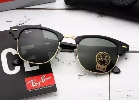 Culos de sol rayban clubmaster rb3016 preto lentes cristal