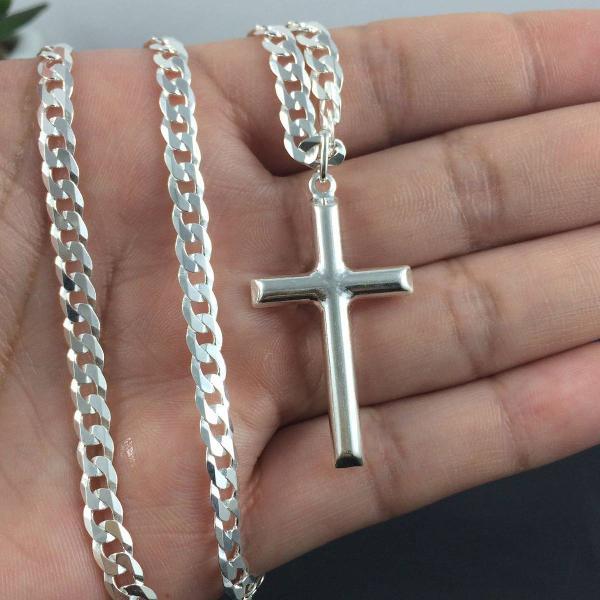 Corrente cordão prata maciça 925 gurmet flat 60 cm
