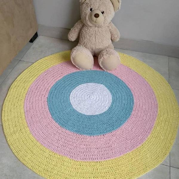 Tapete crochê colorido 1 metro