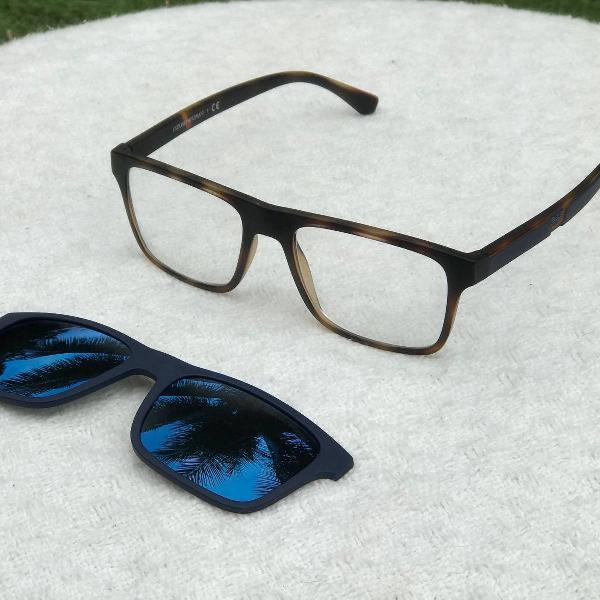 Armação óculos emporio armani com clip on (um faltando