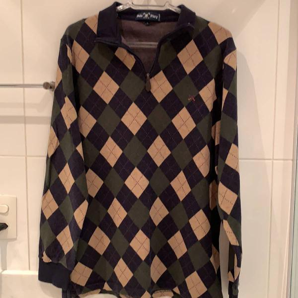 Blusa de lã masculina xadrez