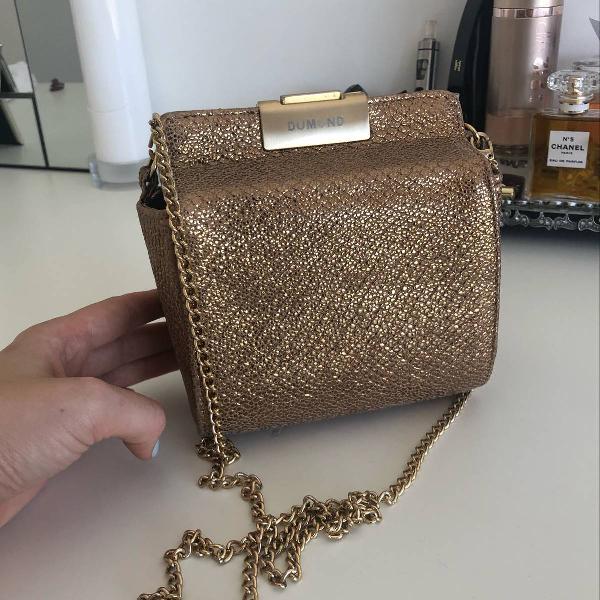 Bolsa dumond clutch para festa dourada