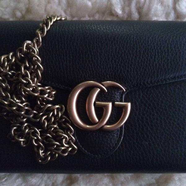 Bolsa mini bag em couro preta feminina gucci