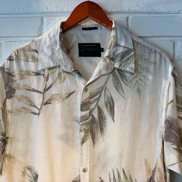 Camisa linho manga curta ellus - floral