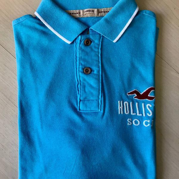 Camiseta polo hollister azul