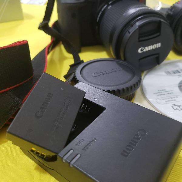 câmera canon t6i com lente ef-s 18-55mm e lente 50 mm