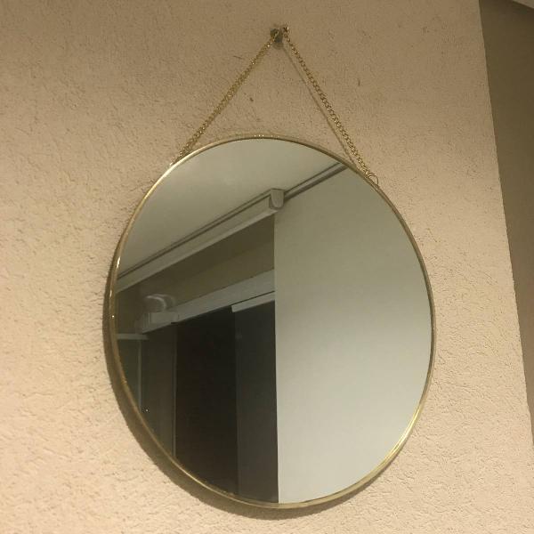 espelho redondo dourado de parede