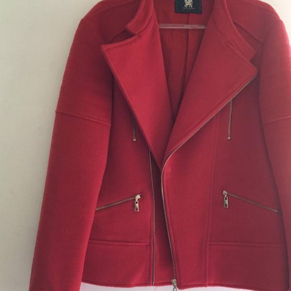 jaqueta perfecto vermelha de lã colcci