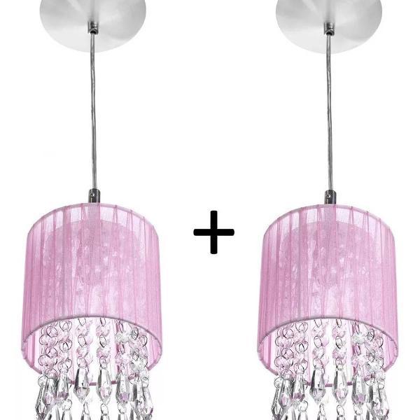 Kit 2 lustres rosa cristal de alto brilho