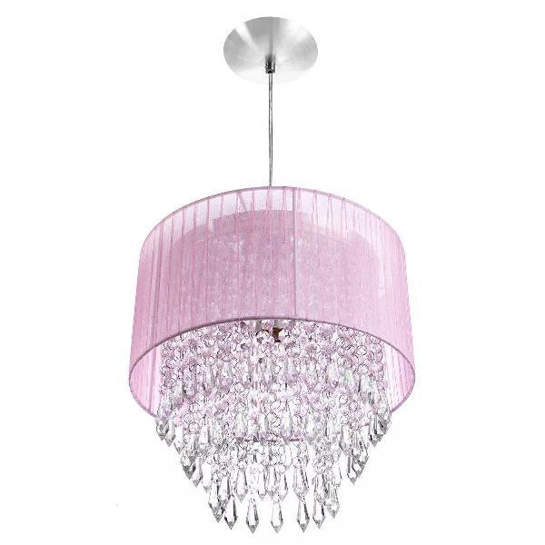 Lustre sala quarto meninas cristal alto brilho rosa