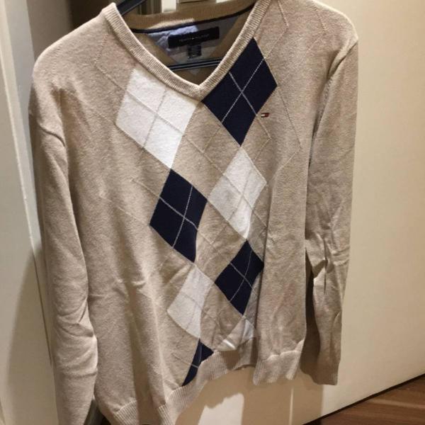 Malha de lã tommy hilfiger, cardigan, blusa de lã