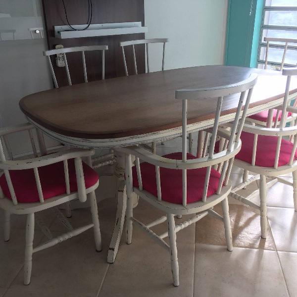 Mesa madeira mogno + 6 cadeiras