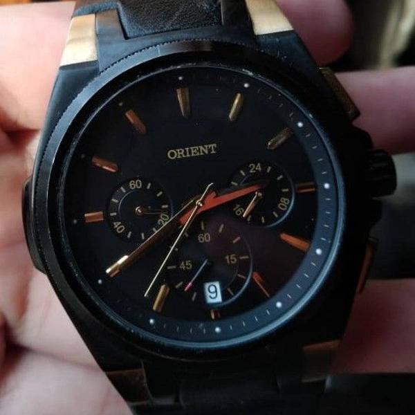 Relógio orient masculino preto - pulseira de couro
