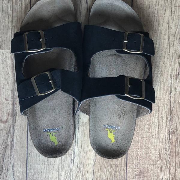 Sandália side walk de couro preta