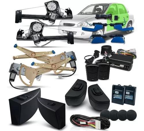 Kit vidro elétrico corsa classic 4 portas + trava + alarme