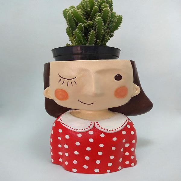 Maria namoradeira vermelha de bolinhas vaso porta cacto e