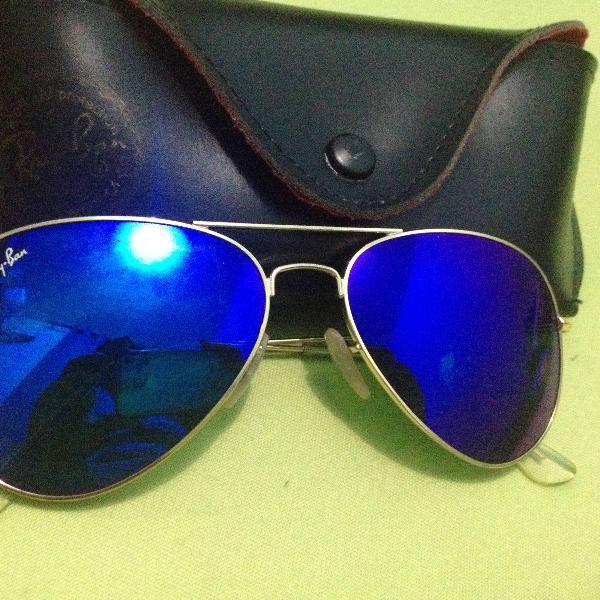 Oculos aviador espelhado azul