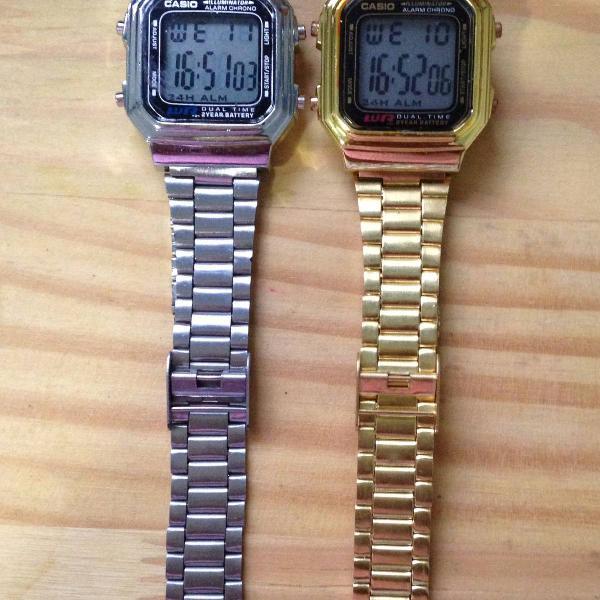 Relógio digital vintage - dourado ou prata